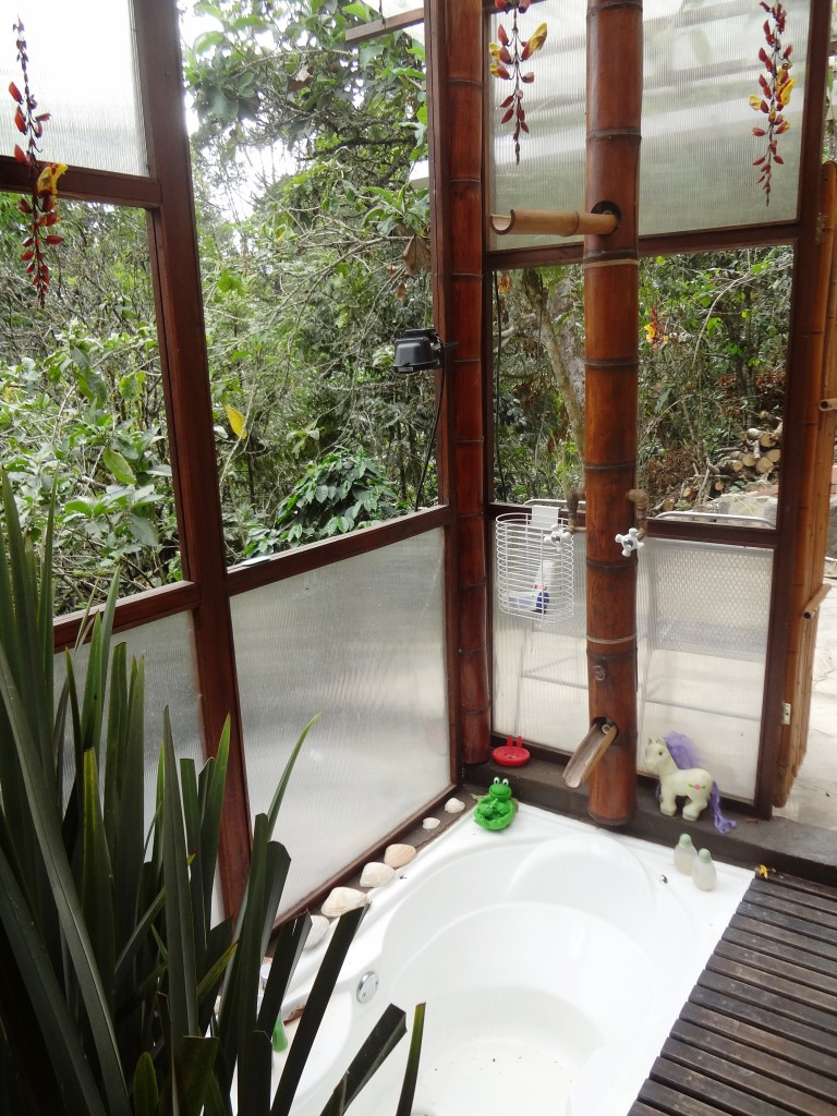 bañera  empotrada en el piso con ducha de bambú
